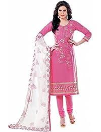 Jheenu Women's Pink Glass Cotton Unstitched Dress Materials