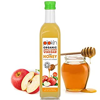 Pipkin Organic Apple Cider Vinegar with Raw Honey & Mother Pure Unfiltered 5% Acidity 500ml Non-GMO, Vegetarian Friendly