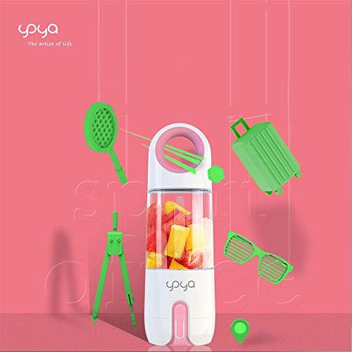 XXTT Aufladen Einer tragbaren Saftpresse Kleiner Behälter USB Wiederaufladbarer Entsafter 4 Blätter Saft jederzeit und überall pressen EIN Entsafter in Einer Tasche,Pink