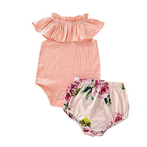 Mitlfuny Kleidung Set Kleid Damen Sommer Elegant Baby Mädchen Outfits & Set,Säuglingsbaby-ärmellose Rüschen-Feste Bodysuit-Spielanzug- + Blumenshorts-Ausstattungen - Princess Rüschen Sock Set