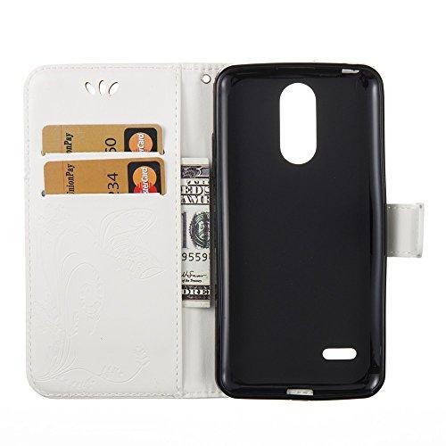 EKINHUI Case Cover Solid Color Faux Leder Bookstyle Brieftasche Stand Case mit geprägten Blumen & Lanyard & Card Slots für LG K8 2017 European Edition ( Color : Gray ) White