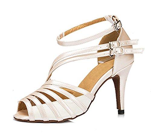 Honeystore Neuheiten Frauen's Kunstleder Heels Absatzschuhe Moderne mit Knöchelriemen Tanzschuhe Weiß 38 CN (Zu Ballerinas Mich)