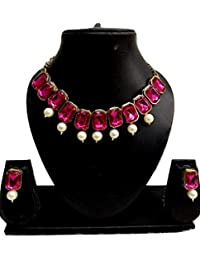 Catalyst Gold Plated Stylish Pink Stones Studded Necklace Set With Earrings For Girls N Women