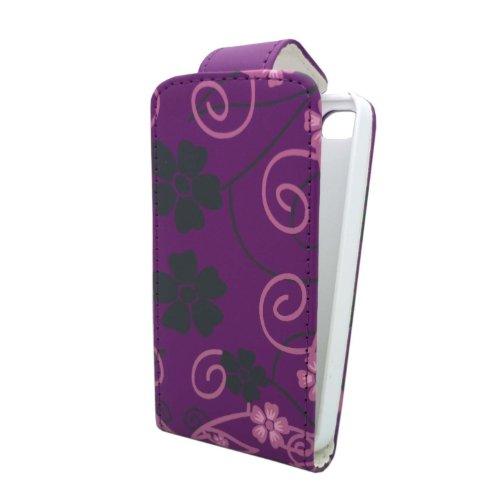 GADGET BOXX POURPRE AVEC CHAUD ROSE ET NOIR FLEUR ET REMOUS conception imprimée CUIR FLIP CASE POCHETTE DE PROTECTION POUR APPLE IPHONE 4/4S