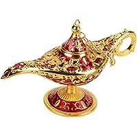 FTVOGUE Legend Magic Genie Lámpara de Luz de Aladino Árabe Genio de la Lámpara de aceite de la caja de metal tallado hueco de leyenda lámpara de deseos lámpara de lámpara de decoración