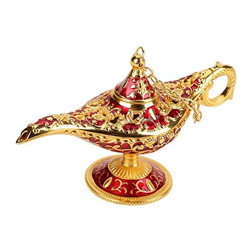 Genie Licht Lampe, Aladdin Licht Magie Genie Licht Metall geschnitzte hohle Legende Lampe Wunsch Licht Lampe Topf Dekor(# 1)