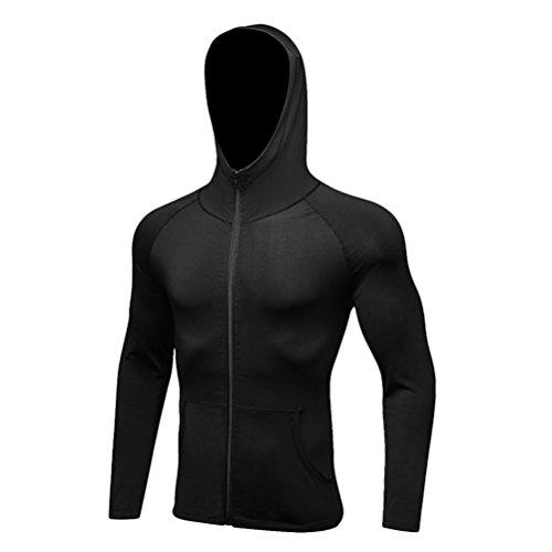 Zhhlinyuan Sports Fitness Windproof Schnelltrocknend Hoodie Tops Herren Long Sleeve Full Zip Running Training Jacket