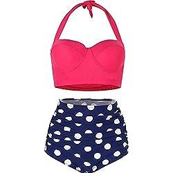 FeelinGirl Lunares Push Up Vintage Talle Alto Conjunto de Baño Bikini para Mujer