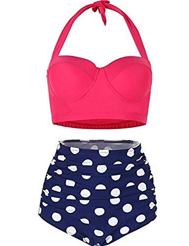 FeelinGirl Böhmische Neckholder Strand Bikini Set Trägerlos Beachwear Bademode XXL Rosa -