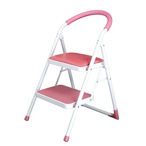 Échelles Domestiques À Deux Étages Echelles À Deux Marches Chaises D'escalier Mobiles Échelles Tabouret Escabeau Multifonctionnel (Color : Pink)