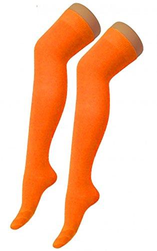 Womens Lycra Plain Over The Knee Socks Thigh High Girls Stretchy OTK Socks (Orange)