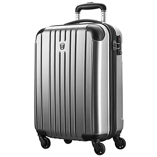 Boarding Suitcase, Expandable 4-Wheel Luggage, Luggage with TSA Lock, Silver