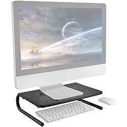 RICOO Support réhausseur ecran Plat PC FS082 pour Table de Bureau avec pupitre Pose Moniteur 4K OLED TV écran Ordinateur Portable Stand de Tablette Tactile Design aération en métal