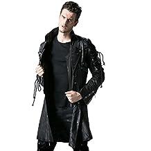 Punk Rave Gift Schwarze Jacke Herren Kunstleder Goth Steampunk Militär Mantel