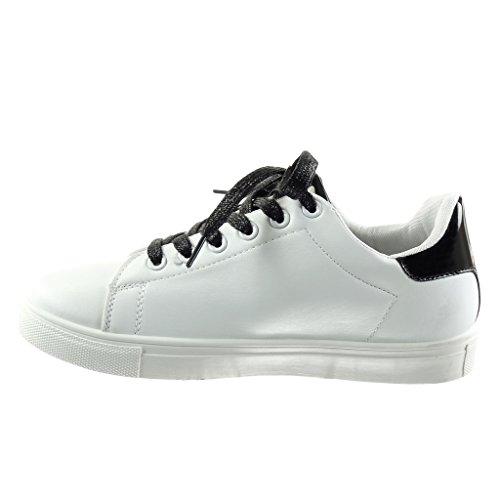 Angkorly Damen Schuhe Sneaker - Tennis - Blumen - Strass - Glänzende Flache Ferse 2.5 cm Schwarz