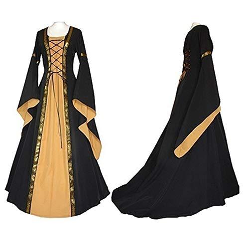 Renaissance Kostüm Plus Frauen Größe - FHSIANN Erwachsene Frauen Halloween Prinzessin kostüm mittelalterlichen Renaissance Lange lila blau KleidMaxi Zug Dress Outfit für mädchen Plus größe