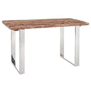 Bureau bois flotté et métal chromé - TANJANE - L 130 x l 70 x H 75