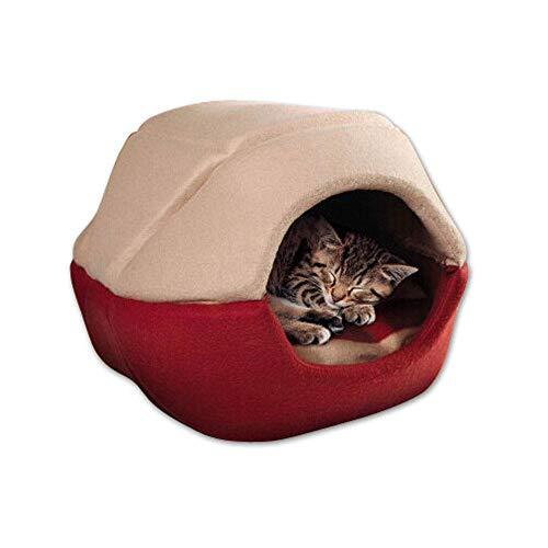 Aolvo Katzenhöhle, Haustierbett, Sofa, bequem, Weiches Katzen-Kuschelbett, Hauszelt umweltfreundlich, tragbar und Waschbar, vielseitig verwendbar, Katzen-/Hundewürfelhaus (mit Kissenmatte Innen)