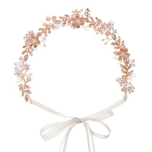 sweetv Rose Gold Hochzeit Haarband Brautschmuck Kopfbedeckung Perle Haar Vine