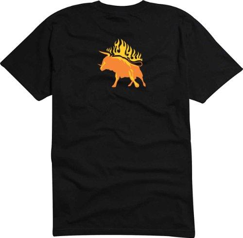 T-Shirt Herren Stier Stoß Schwarz