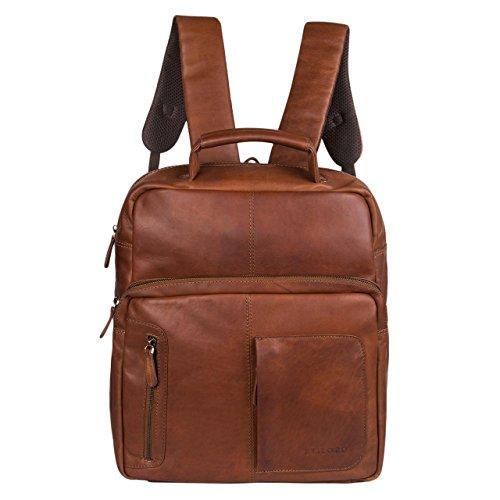 STILORD 'Toni' Vintage Leder Rucksack groß für Frauen Männer moderner Daypack für DIN A4 Ordner 13.3 Zoll Laptop Rucksackhandtasche ideal für Schule Uni und Arbeit, Farbe:cognac - braun