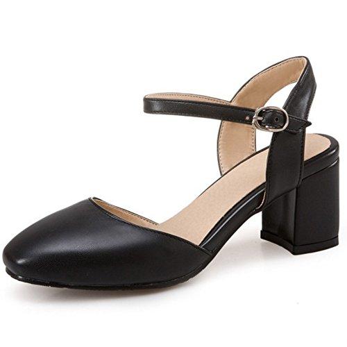 COOLCEPT Damen Mode Knochelriemchen Sandalen Blockabsatz Slingback Geschlossene Schuhe Gr Schwarz
