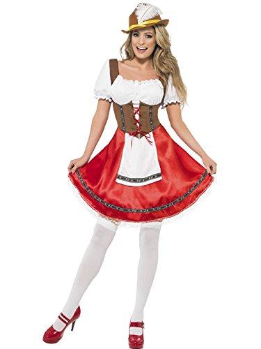 Generique - Bayrisches Dirndl-Kostüm für Damen rot braun weiß XL