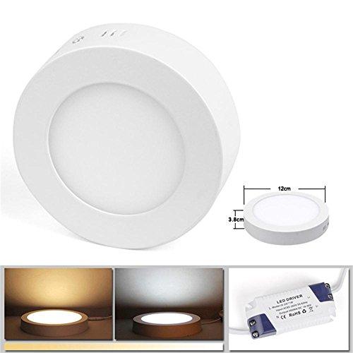 BAODE Dimmbar 6W Warmweiß(3000K) 390Lumen LED Panel Leuchte Rund Deckenlampe Aufputz Installation ersetzt 50W Glühbirne, LED Panellampe, Einbaustrahler, 3 Jahre Garantie