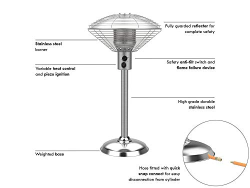 Sahara 4kw Gas Table Top outdoor patio heater, made from stainless steel, with weight mounted base. Supplied with regulator compatible with Patio Gas and hose. 52 x 52 x 96 cm