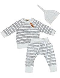 SMARTLADY 3PC/SET Camisetas de manga larga + Pantalones + Sombrero para Bebe Niños Otoño Invierno Ropa