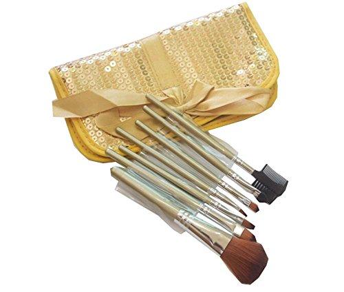 GOLD Sequin Sac cosmétique / 7 Pièces Maquillage des yeux Pinceaux