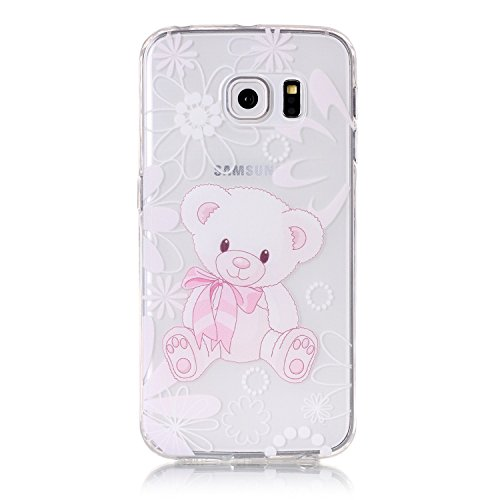 JAWSEU Coque Etui pour Samsung Galaxy S7 Edge,Samsung Galaxy S7 Edge Coque en Silicone Transparent,Samsung Galaxy S7 Edge Silicone Coque Cristal Clair Etui Housse,Samsung Galaxy S7 Edge Soft Case Gel  Lovely Ours
