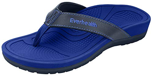 Everhealth Damen Zehentrenner Orthopädische Sandalen für Fußgewölbe und Fersensporn Stylische Hausschuhe Sandaletten mit Weichem fußbett - Blau 39