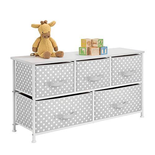 MetroDecor mDesign Kommode aus Stoff mit 5 Schubladen - praktisches Aufbewahrungsregal für Kinderzimmer, Schlafzimmer etc. - hübsche Schubladenkommode - grau/weiß