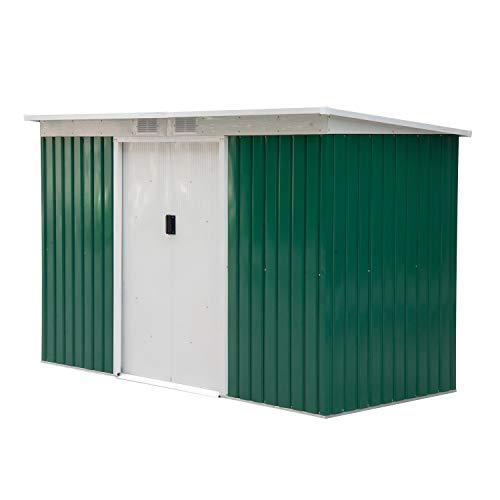 Outsunny Metall Gerätehaus mit Fundament Gartenhaus Geräteschuppen Metallhütte Pultdach verzinkt Stahlblech Schiebetüren Grün 277 x 130 x 173 cm
