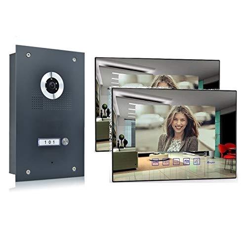 Video Türsprechanlage Gegensprechanlage mit 7\'\' Monitor Kamera 170° Anthrazit, Farbe: Ohne, Größe: 2x7\'\' Monitor