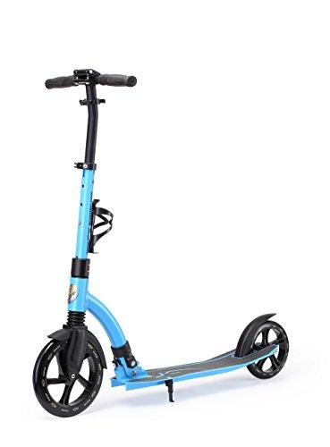 STAR-SCOOTER Pro Sport Trottinette 2 roues pour adultes et enfants de 8 - 10 ans ★ Patinette enfant pliable 230mm avec roues grande Edition Ultimate ★ Bleu