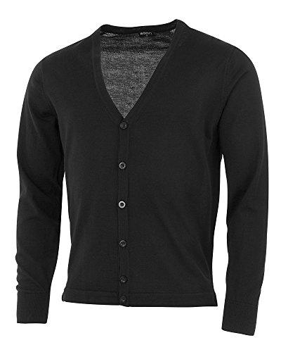 agon - Premium Herren Strick-Cardigan, extrafein, 100% Merino-Wolle, V-Ausschnitt, Total-Easy-Care Schwarz 50/M - Wolle Herren Golf-pullover