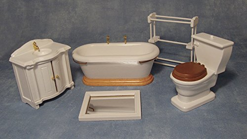 12th Scale Dolls House White Bathroom Set from Streets Ahead