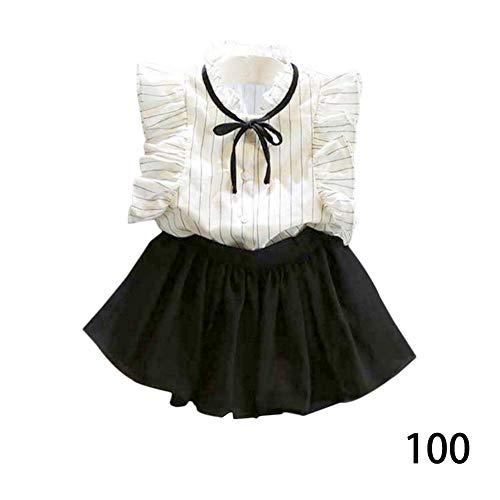 DRAULIC - Blusa de algodón con mangas volantes + culotte de gasa para niña, traje de verano OL de manga corta a Talla:100 cm