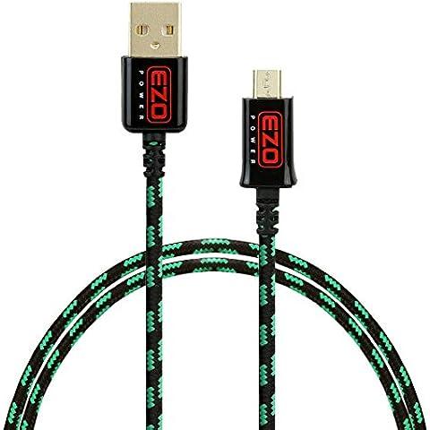 EZOPower Cable de Micro USB, Nylon Trenzado, Carga y Datos, Color Verde y Negro, 1 metro