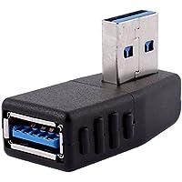 Conector Adaptador Negro de Ángulo Recto macho USB 3.0 a Enchufe Hembra M/F