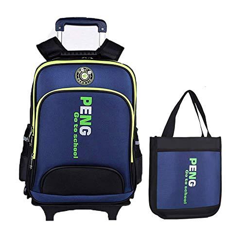 ZHANGYY Hand-Pull Kinderrucksack Tutorial Trolley Schultasche Flat Foot Six Round für Jungen und Mädchen Tasche-D