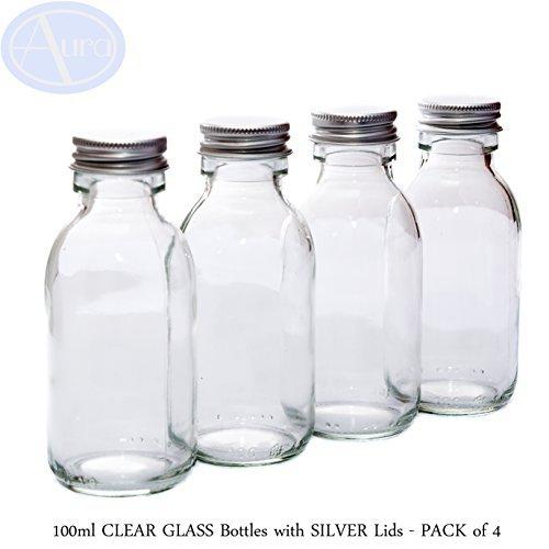 Lot de 4 flacons en verre transparent - couvercles argentés - 100 ml Parfaits pour les produits cosmétiques, les épices, les condiments, etc.