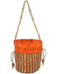 Hanumant Creations Women's Handicraft Potli Bag, Orange, HCHB012