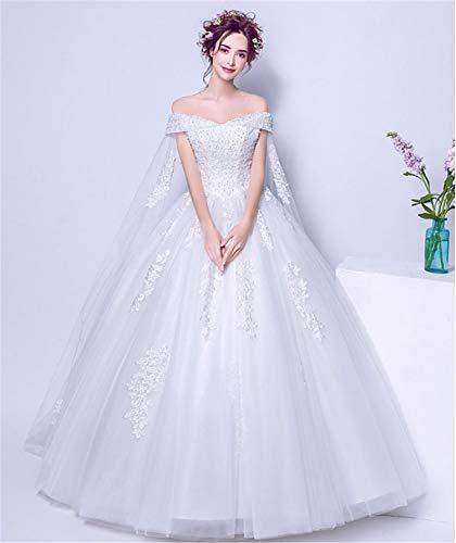 UNIQUE-F Sexy Hochzeitskleid, Braut Tube Top trägerlosen weiblichen Rock Lace Print ärmellose Prinzessin Abendkleid White Strap Anpassung S - Spitzen Rock Trägerlosen Brautkleid