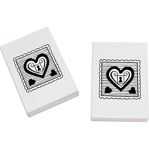 Radiergummi-stempel (Azeeda 2 x 45mm 'Herz Vorhängeschloss Stempel' Radiergummis (ER00003607))