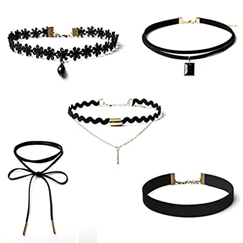 FEITONG Choker Necklace Set Stretch Velvet Classic Gothic Tattoo Lace Choker (5 Pieces)