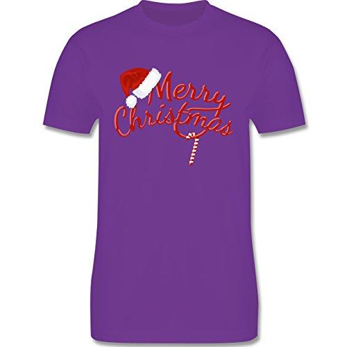 Weihnachten & Silvester - Merry Christmas Zuckerstange - Herren Premium T-Shirt Lila