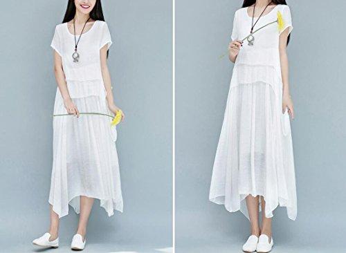 QIYUN.Z Vestito Irregolare Dal Manicotto Del Bicchierino Di Stile Cinese Delle Donne Latteo